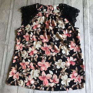White House Black Market Floral Blouse Lace Small